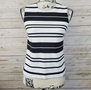 Calvin Klein Black & White Striped Ribbed Top